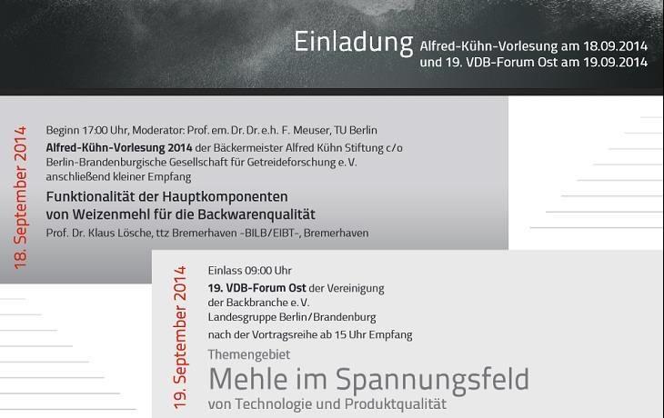 Einladung zur Kuehn-Vorlesung und zum 19. VDB-Forum Ost