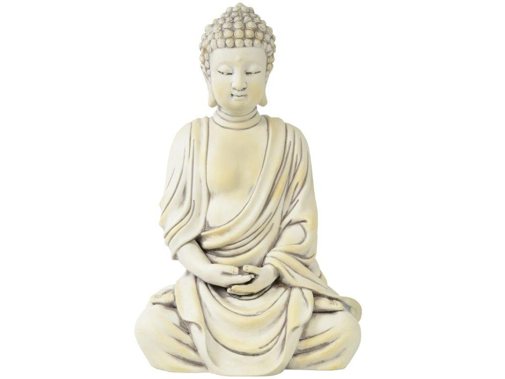 deko buddha figur sitzend 40cm gro wei thai m nch statue aus keramik jt ebay. Black Bedroom Furniture Sets. Home Design Ideas