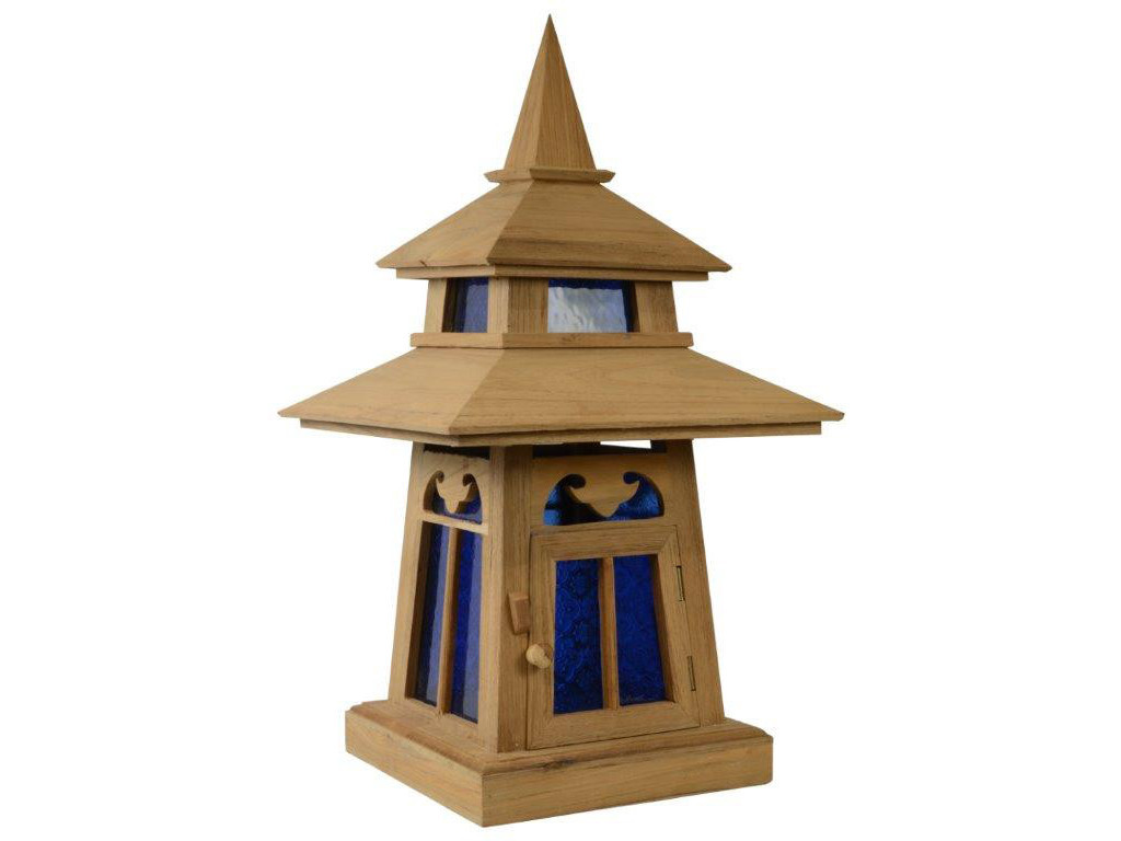deko holzlampe asiatische leuchte tisch steh lampe blue temple thai410 ebay. Black Bedroom Furniture Sets. Home Design Ideas