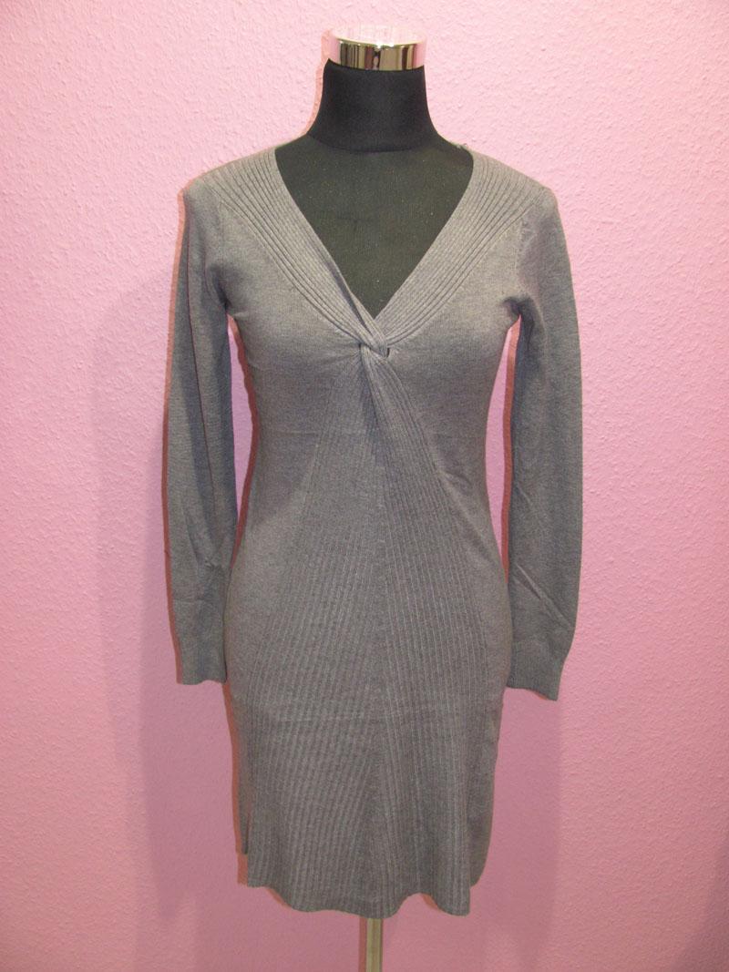 Kleid, mit überkreuztem Rippmuster
