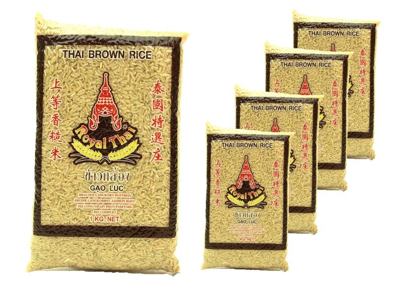 Brauner Thai Reis Langkorn 5 x 1kg