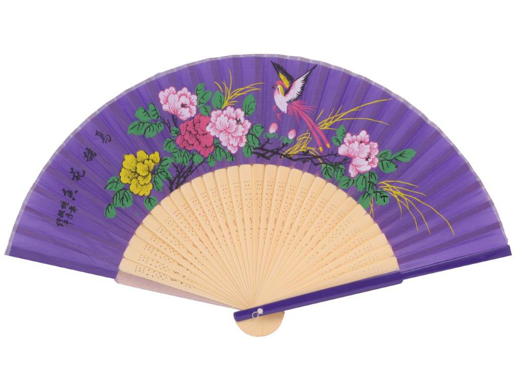 Handfächer aus Bambus - lila